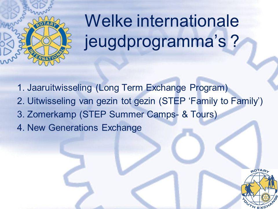 Welke internationale jeugdprogramma's ? 1. Jaaruitwisseling (Long Term Exchange Program) 2. Uitwisseling van gezin tot gezin (STEP 'Family to Family')