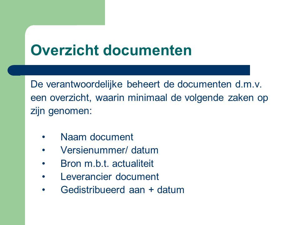 Overzicht documenten De verantwoordelijke beheert de documenten d.m.v. een overzicht, waarin minimaal de volgende zaken op zijn genomen: •Naam documen