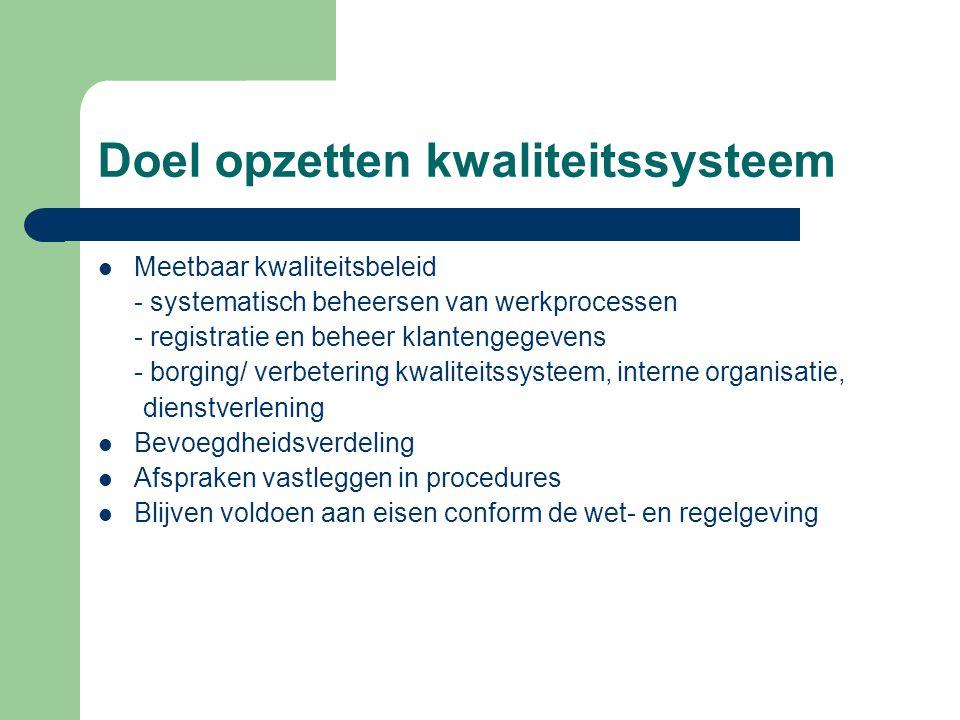 Doel opzetten kwaliteitssysteem  Meetbaar kwaliteitsbeleid - systematisch beheersen van werkprocessen - registratie en beheer klantengegevens - borgi