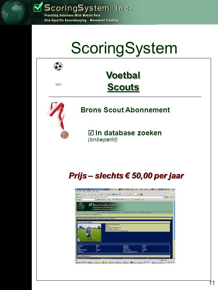 11 ScoringSystem Voetbal Scouts Voetbal Scouts Brons Scout Abonnement  In database zoeken (onbeperkt) Prijs – slechts € 50,00 per jaar