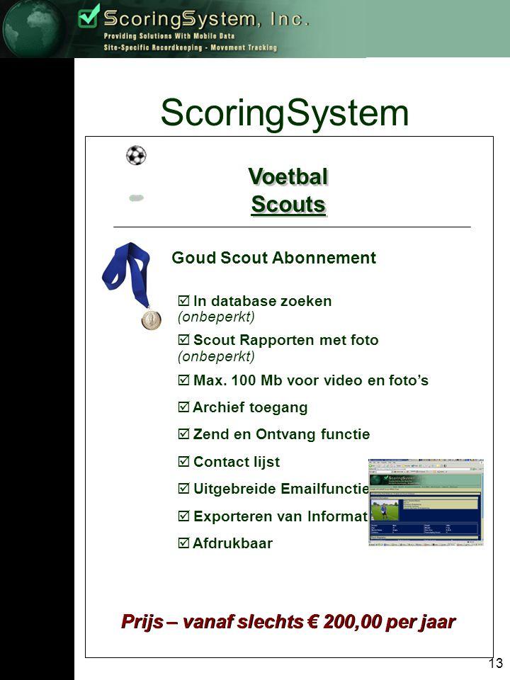 13 ScoringSystem Voetbal Scouts Voetbal Scouts Goud Scout Abonnement Prijs – vanaf slechts € 200,00 per jaar  In database zoeken (onbeperkt)  Scout Rapporten met foto (onbeperkt)  Max.
