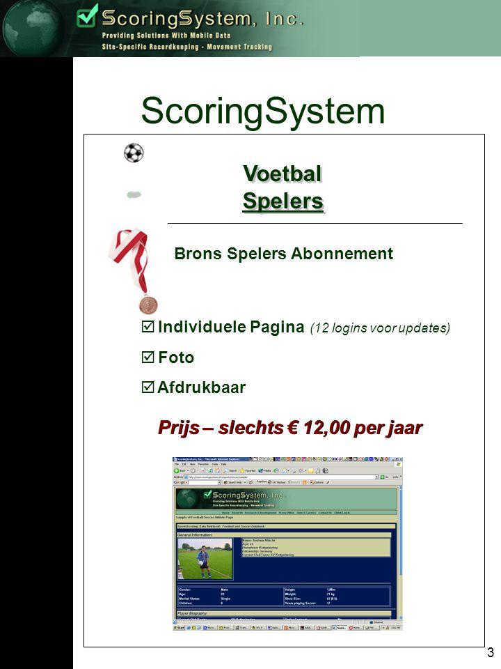 3 ScoringSystem Voetbal Spelers Voetbal Spelers Brons Spelers Abonnement  Individuele Pagina (12 logins voor updates)  Foto  Afdrukbaar Prijs – slechts € 12,00 per jaar