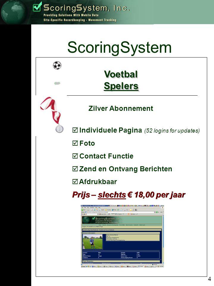 4 ScoringSystem Voetbal Spelers Voetbal Spelers Zilver Abonnement  Individuele Pagina (52 logins for updates)  Foto  Contact Functie  Zend en Ontvang Berichten  Afdrukbaar Prijs – slechts € 18,00 per jaar
