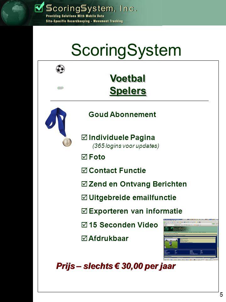 6 ScoringSystem Voetbal Elftallen/Clubs Voetbal Elftallen/Clubs Elftal/Club Abonnementen Brons Zilver Goud
