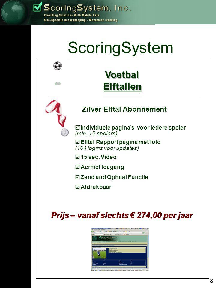 9 ScoringSystem Voetbal Elftallen Voetbal Elftallen Goud Elftal Abonnement Prijs – vanaf slechts € 606,00 per jaar  Individuele pagina's voor iedere speler (minimaal 12 spelers)  Elftal Rapport pagina met foto (365 logins voor updates)  Max.