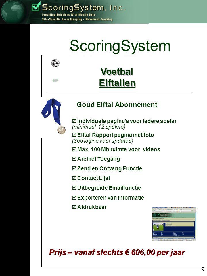 10 ScoringSystem Voetbal Scouts Voetbal Scouts Scout Abonnementen Brons Zilver Goud