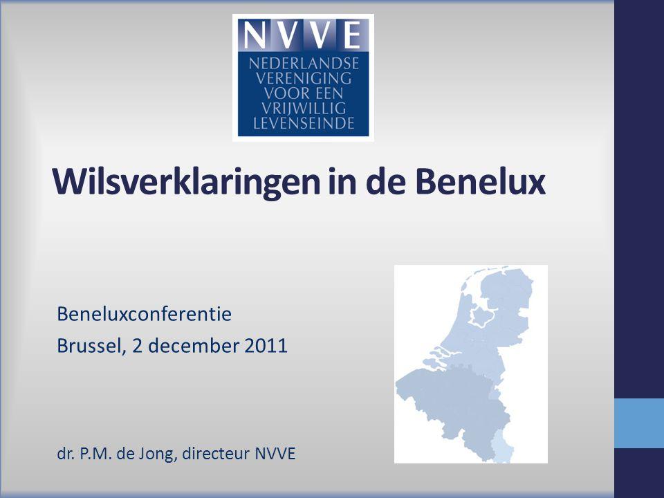Wilsverklaringen in de Benelux Beneluxconferentie Brussel, 2 december 2011 dr. P.M. de Jong, directeur NVVE