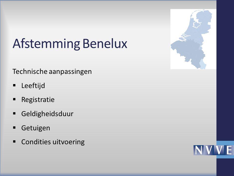 Afstemming Benelux Technische aanpassingen  Leeftijd  Registratie  Geldigheidsduur  Getuigen  Condities uitvoering