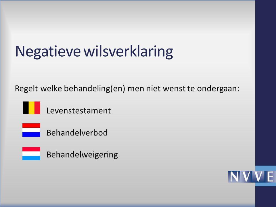 Negatieve wilsverklaring Regelt welke behandeling(en) men niet wenst te ondergaan: Levenstestament Behandelverbod Behandelweigering