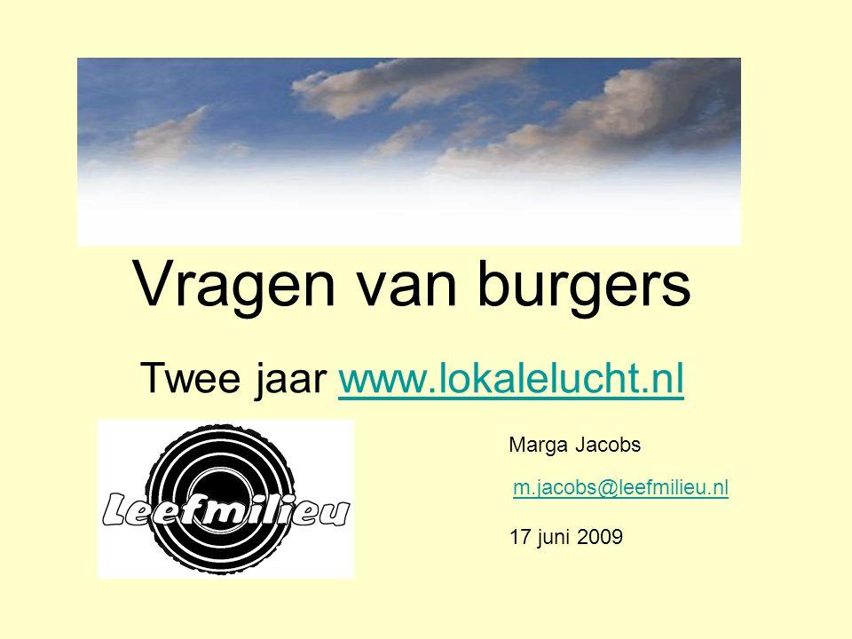Vragen van burgers Twee jaar www.lokalelucht.nlwww.lokalelucht.nl Marga Jacobs m.jacobs@leefmilieu.nl 17 juni 2009