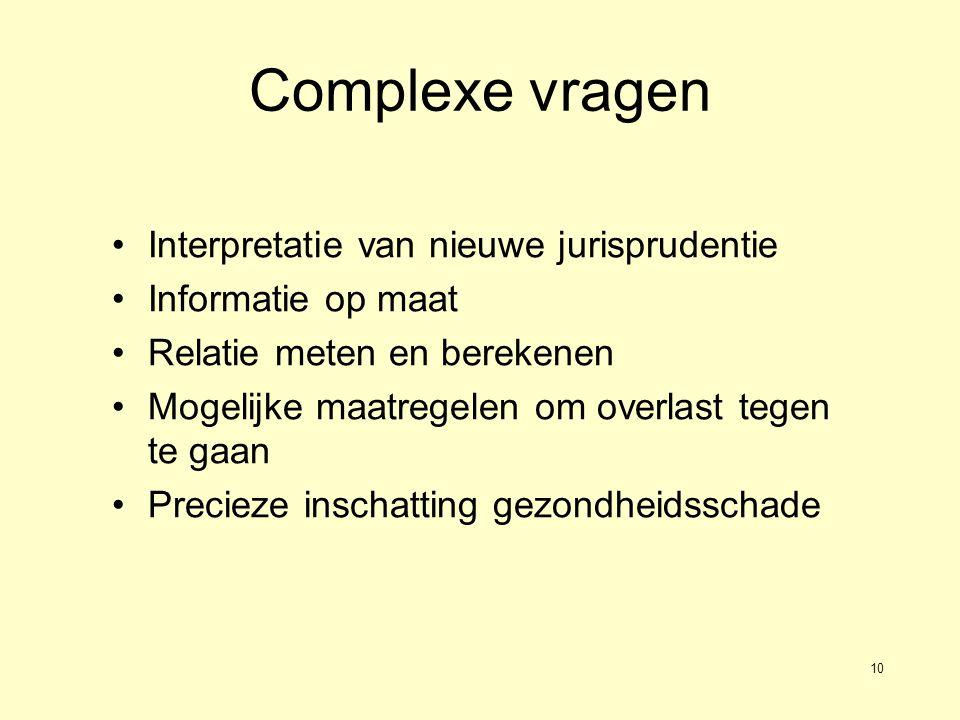 10 Complexe vragen •Interpretatie van nieuwe jurisprudentie •Informatie op maat •Relatie meten en berekenen •Mogelijke maatregelen om overlast tegen te gaan •Precieze inschatting gezondheidsschade