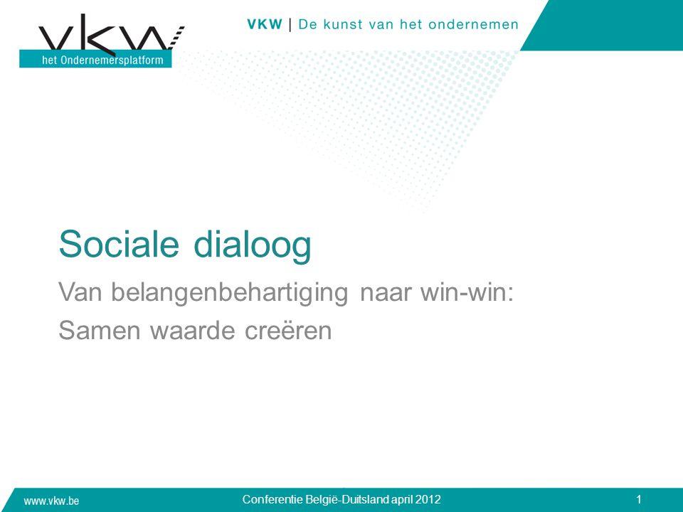 Sociale dialoog Van belangenbehartiging naar win-win: Samen waarde creëren Conferentie België-Duitsland april 20121