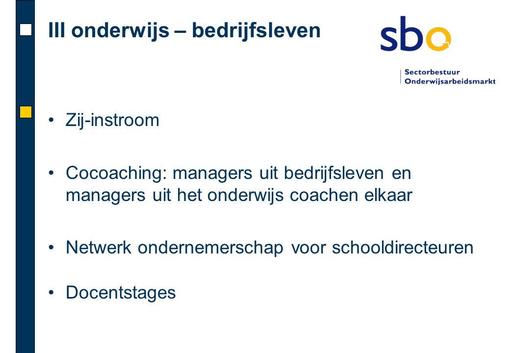 III onderwijs – bedrijfsleven •Zij-instroom •Cocoaching: managers uit bedrijfsleven en managers uit het onderwijs coachen elkaar •Netwerk ondernemersc