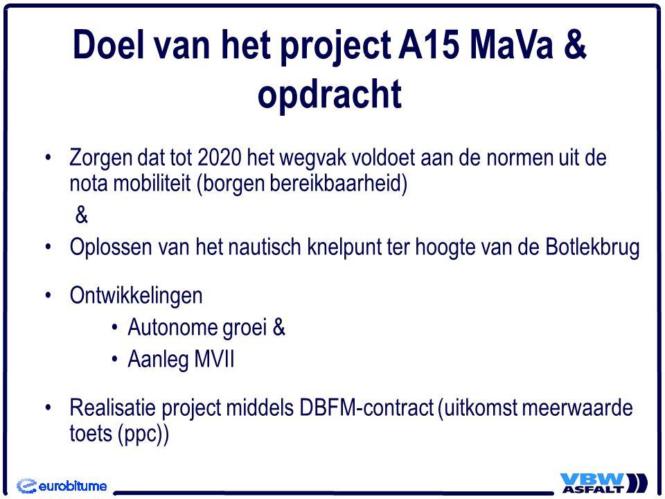 •Zorgen dat tot 2020 het wegvak voldoet aan de normen uit de nota mobiliteit (borgen bereikbaarheid) & •Oplossen van het nautisch knelpunt ter hoogte van de Botlekbrug •Ontwikkelingen •Autonome groei & •Aanleg MVII •Realisatie project middels DBFM-contract (uitkomst meerwaarde toets (ppc)) Doel van het project A15 MaVa & opdracht