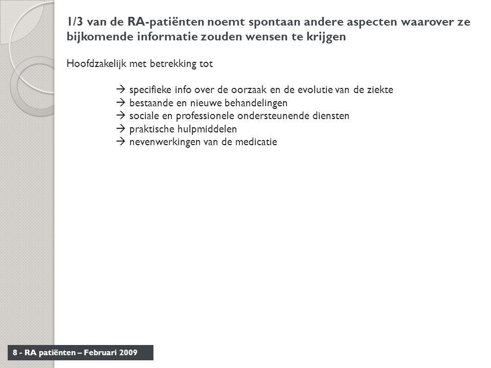 8 - RA patiënten – Februari 2009 1/3 van de RA-patiënten noemt spontaan andere aspecten waarover ze bijkomende informatie zouden wensen te krijgen Hoo