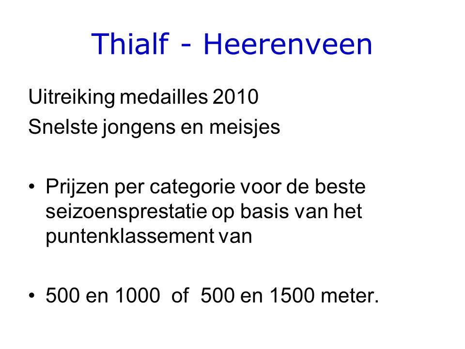 Thialf - Heerenveen Uitreiking medailles 2010 Snelste jongens en meisjes •Prijzen per categorie voor de beste seizoensprestatie op basis van het puntenklassement van •500 en 1000 of 500 en 1500 meter.
