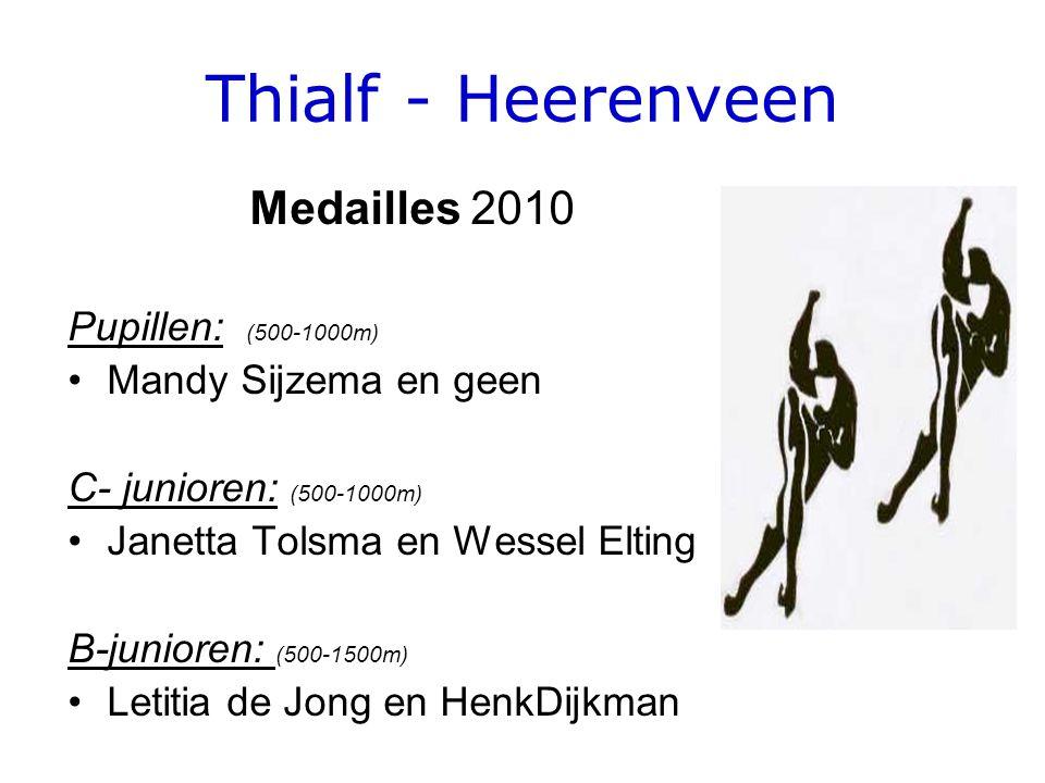 Thialf - Heerenveen Medailles 2010 Pupillen: (500-1000m) •Mandy Sijzema en geen C- junioren: (500-1000m) •Janetta Tolsma en Wessel Elting B-junioren: (500-1500m) •Letitia de Jong en HenkDijkman