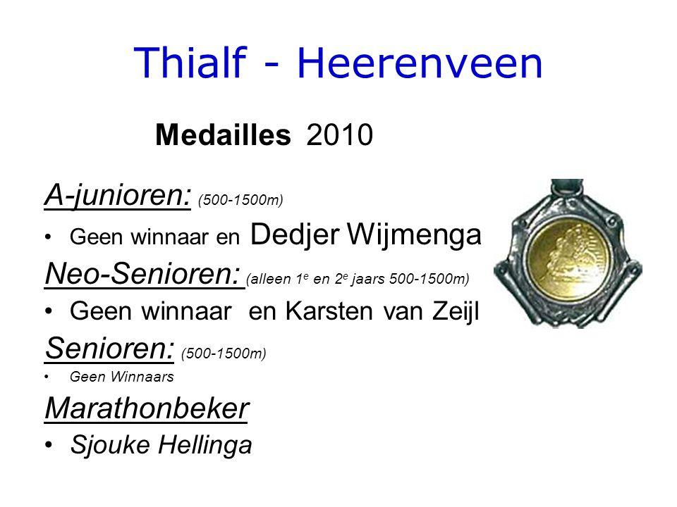 Thialf - Heerenveen Medailles 2010 A-junioren: (500-1500m) •Geen winnaar en Dedjer Wijmenga Neo-Senioren: (alleen 1 e en 2 e jaars 500-1500m) •Geen winnaar en Karsten van Zeijl Senioren: (500-1500m) •Geen Winnaars Marathonbeker •Sjouke Hellinga