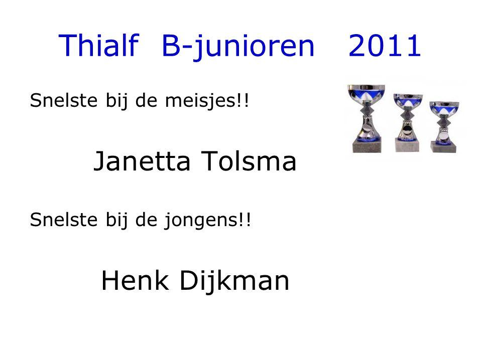 Thialf B-junioren 2011 Snelste bij de meisjes!. Janetta Tolsma Snelste bij de jongens!.