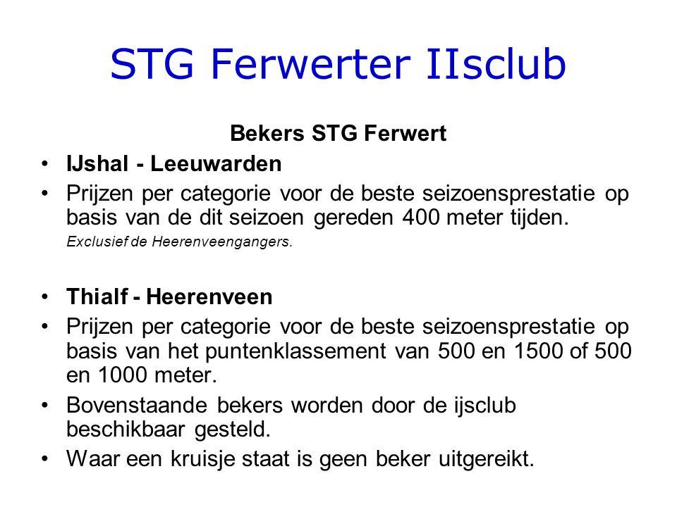STG Ferwerter IIsclub Bekers STG Ferwert •IJshal - Leeuwarden •Prijzen per categorie voor de beste seizoensprestatie op basis van de dit seizoen gereden 400 meter tijden.