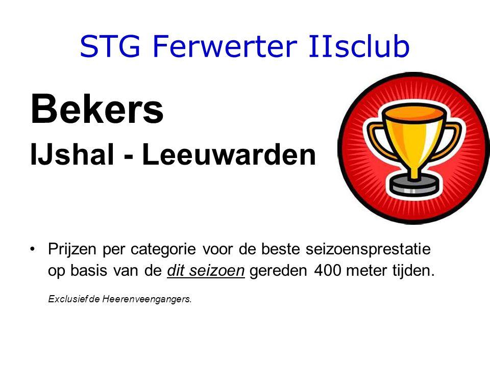 STG Ferwerter IIsclub Bekers IJshal - Leeuwarden •Prijzen per categorie voor de beste seizoensprestatie op basis van de dit seizoen gereden 400 meter tijden.