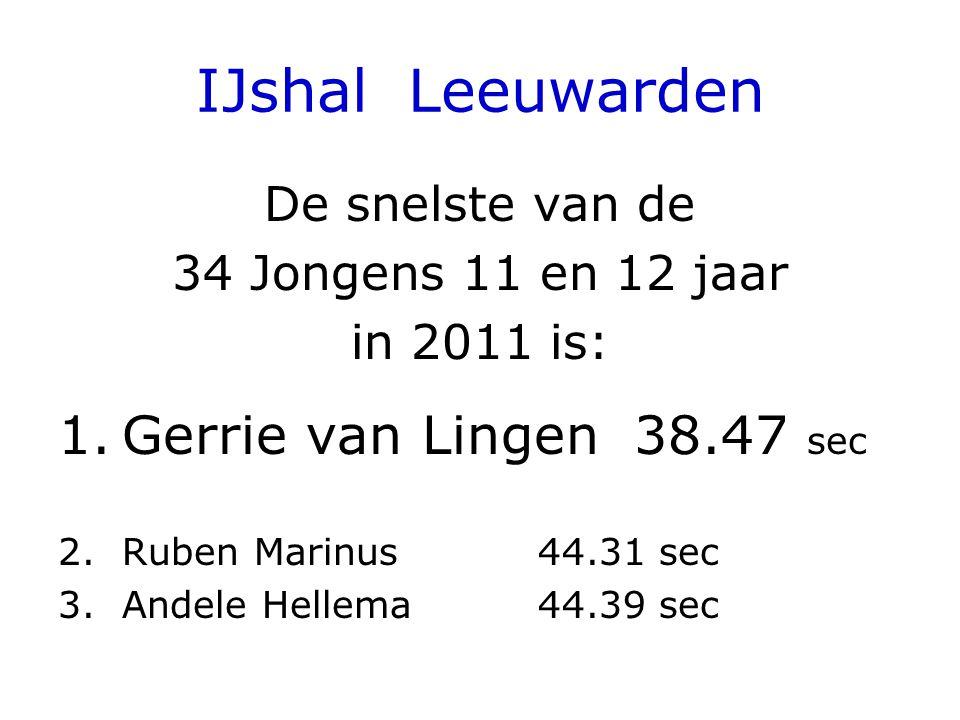 IJshal Leeuwarden De snelste van de 34 Jongens 11 en 12 jaar in 2011 is: 1.Gerrie van Lingen38.47 sec 2.Ruben Marinus44.31 sec 3.Andele Hellema44.39 sec
