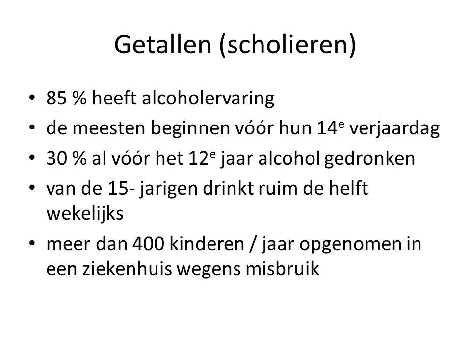 Getallen (scholieren) • 85 % heeft alcoholervaring • de meesten beginnen vóór hun 14 e verjaardag • 30 % al vóór het 12 e jaar alcohol gedronken • van