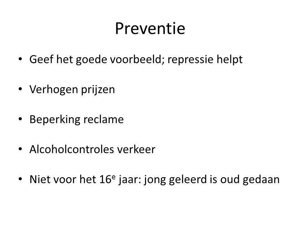 Preventie • Geef het goede voorbeeld; repressie helpt • Verhogen prijzen • Beperking reclame • Alcoholcontroles verkeer • Niet voor het 16 e jaar: jon