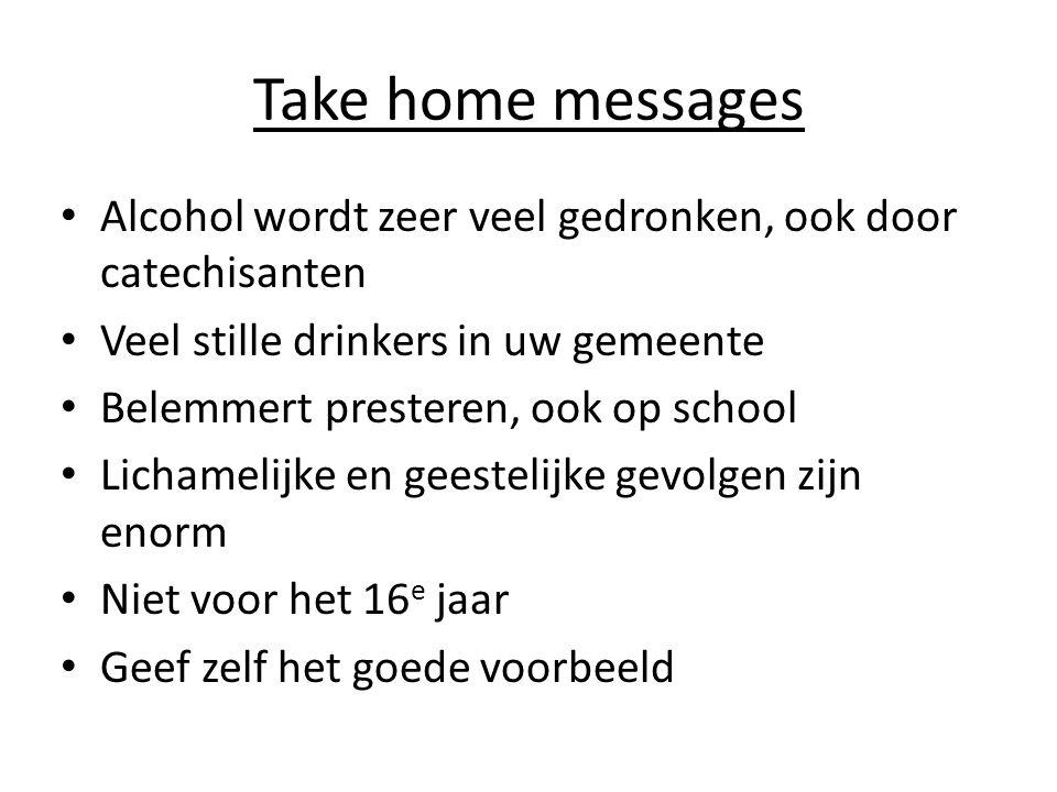 Take home messages • Alcohol wordt zeer veel gedronken, ook door catechisanten • Veel stille drinkers in uw gemeente • Belemmert presteren, ook op sch