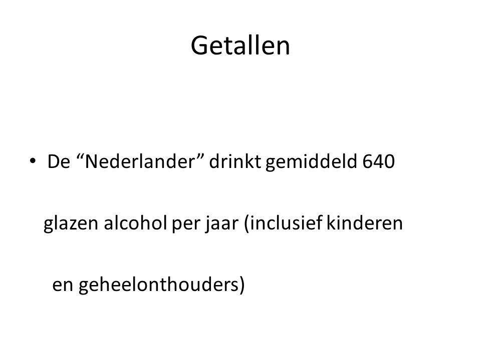 """Getallen • De """"Nederlander"""" drinkt gemiddeld 640 glazen alcohol per jaar (inclusief kinderen en geheelonthouders)"""