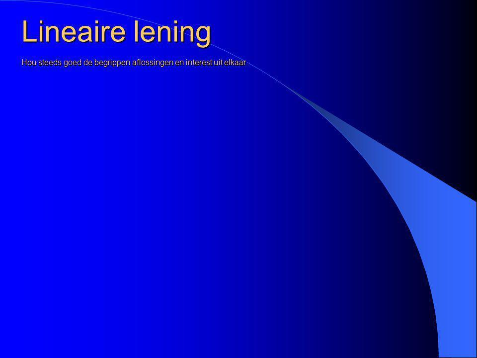 Lineaire lening Interest 2 en 3e jaar 8% van 2.000,- en 1.000,- is 160,- en 80,- JaarBegin Schuld AflossingInterestAflossing en interest Eindschuld 13.0001000240 21000160 3100080