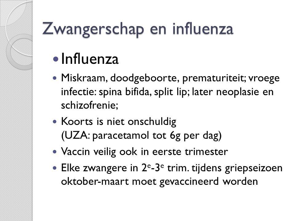 Zwangerschap en influenza  Influenza  Miskraam, doodgeboorte, prematuriteit; vroege infectie: spina bifida, split lip; later neoplasie en schizofren