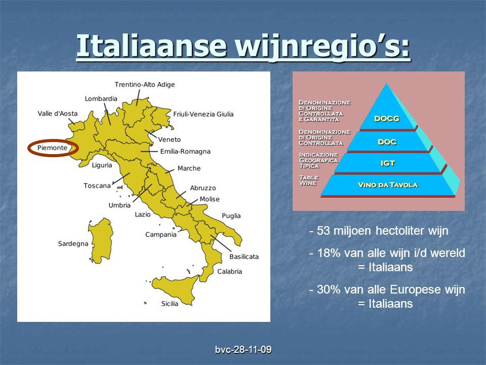 bvc-28-11-09 Italiaanse wijnregio's: - 53 miljoen hectoliter wijn - 18% van alle wijn i/d wereld = Italiaans - 30% van alle Europese wijn = Italiaans