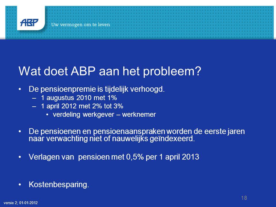 18 Wat doet ABP aan het probleem. •De pensioenpremie is tijdelijk verhoogd.