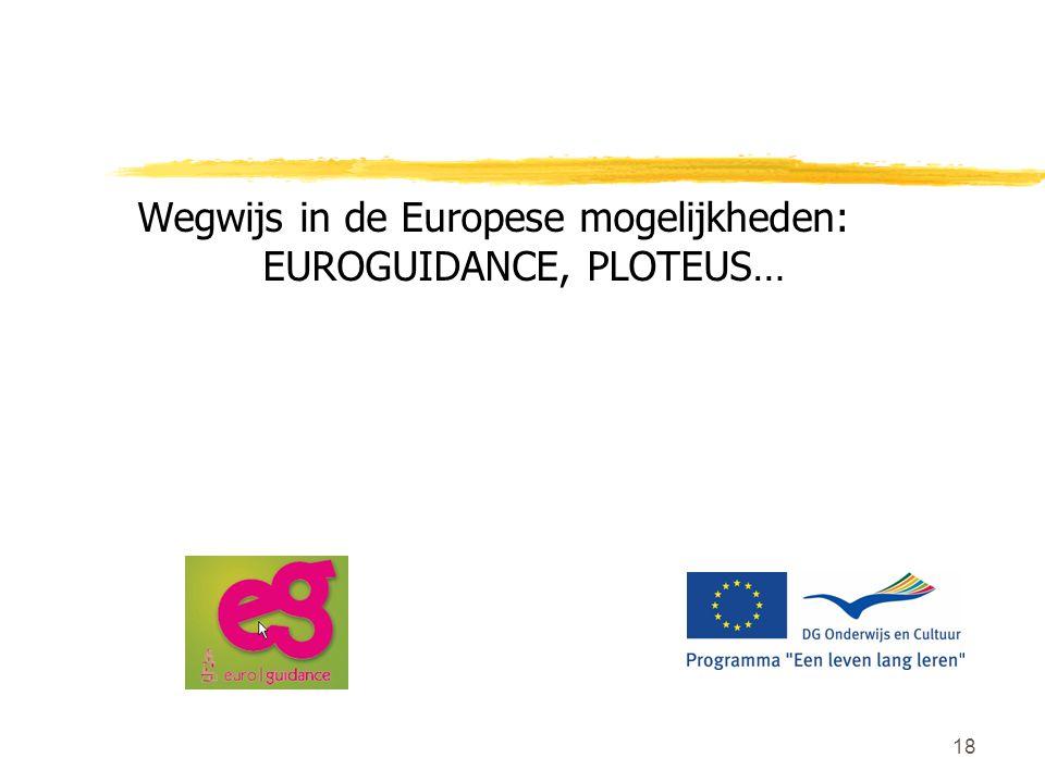 18 Wegwijs in de Europese mogelijkheden: EUROGUIDANCE, PLOTEUS…
