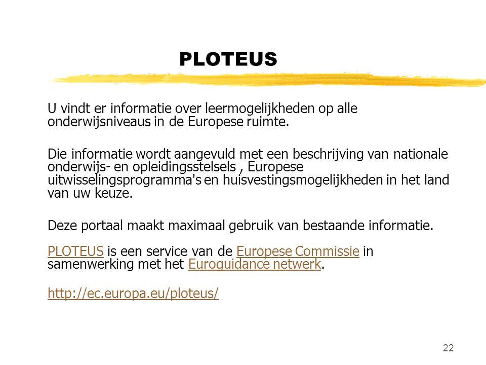 22 PLOTEUS U vindt er informatie over leermogelijkheden op alle onderwijsniveaus in de Europese ruimte.