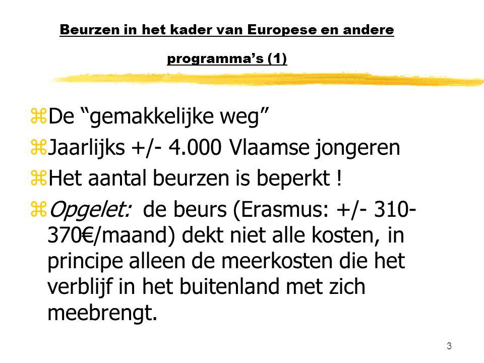 3 Beurzen in het kader van Europese en andere programma's (1) zDe gemakkelijke weg zJaarlijks +/- 4.000 Vlaamse jongeren zHet aantal beurzen is beperkt .