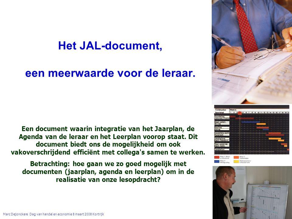 Het JAL-document, een meerwaarde voor de leraar. Marc Dejonckere Dag van handel en economie 8 maart 2008 Kortrijk Een document waarin integratie van h