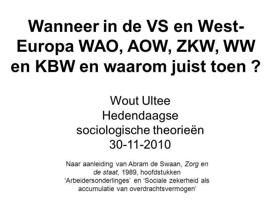 Wanneer in de VS en West- Europa WAO, AOW, ZKW, WW en KBW en waarom juist toen .