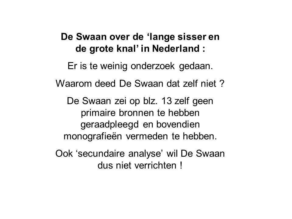 De Swaan over de 'lange sisser en de grote knal' in Nederland : Er is te weinig onderzoek gedaan.