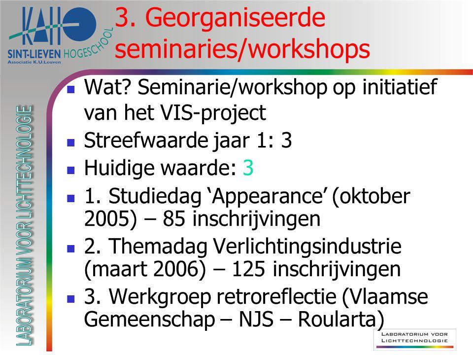 3. Georganiseerde seminaries/workshops  Wat.