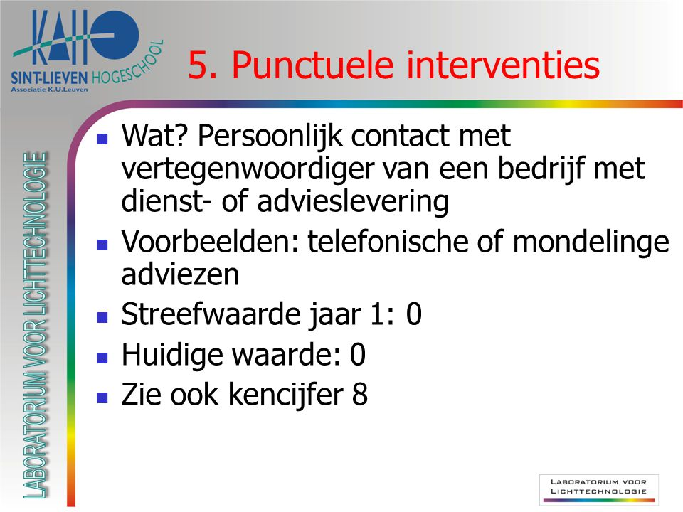 5. Punctuele interventies  Wat.