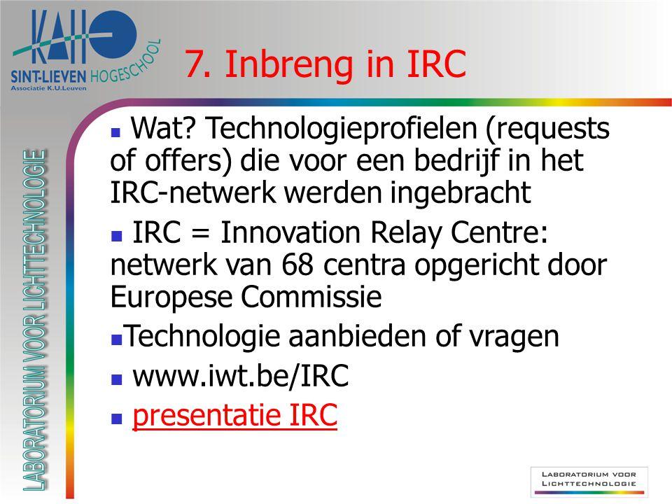  Wat? Technologieprofielen (requests of offers) die voor een bedrijf in het IRC-netwerk werden ingebracht  IRC = Innovation Relay Centre: netwerk va