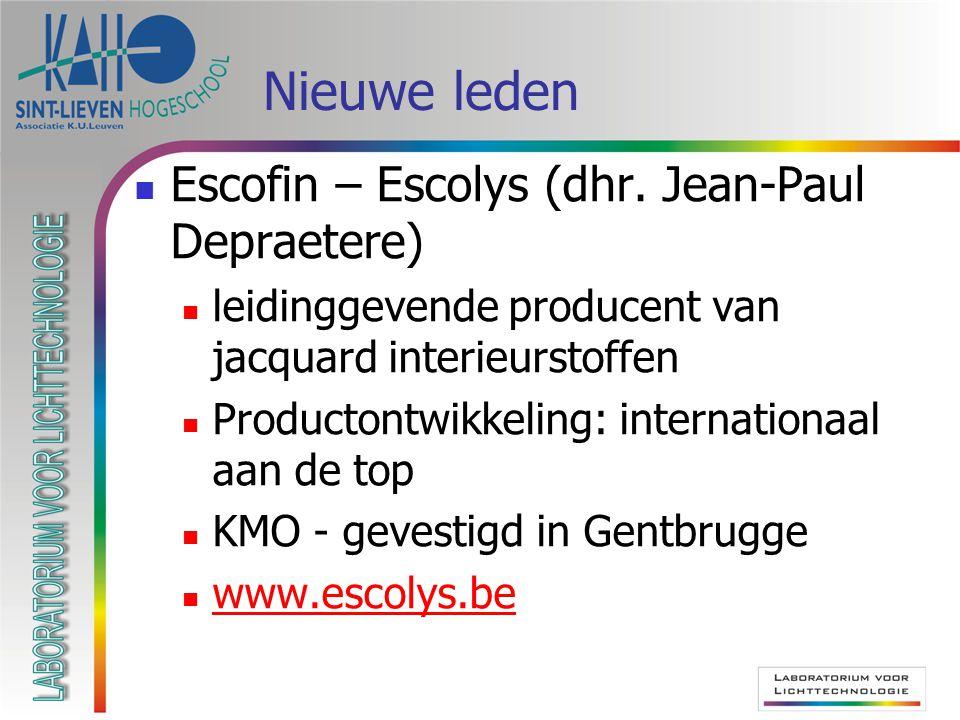 Nieuwe leden  Escofin – Escolys (dhr.