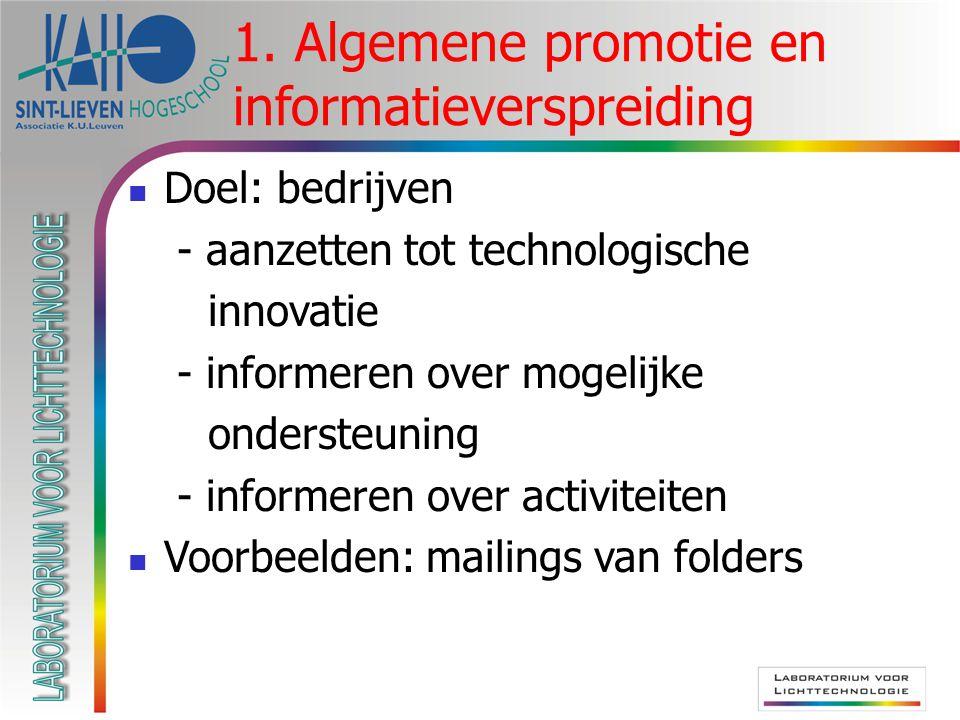 1. Algemene promotie en informatieverspreiding  Doel: bedrijven - aanzetten tot technologische innovatie - informeren over mogelijke ondersteuning -