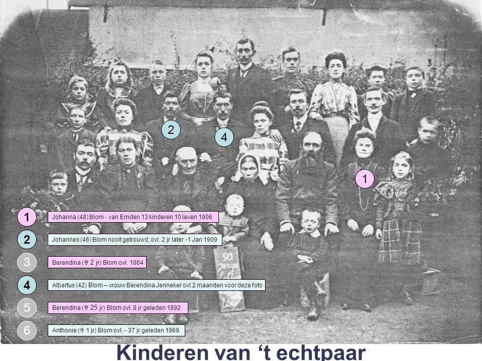 M V 4 3 1 M V 2 Moeder: Johanna (48) Blom - van Emden 13 kinderen 10 levend in 1906 Vader: Hendrikus Aloysius Johannes van Emden (49) Johanna (27) Hendrika (25) Aleida (26) Albertus (16) Gezin van Johanna Blom – van Emden uit Roermond 8 7 5 6 Johanna Berdina (15) Wilhelmus (14) 12 11 9 10 Antonius (  3jr) ovl 1898 Maria (10) Joannes (6) 13 NN stil geb.