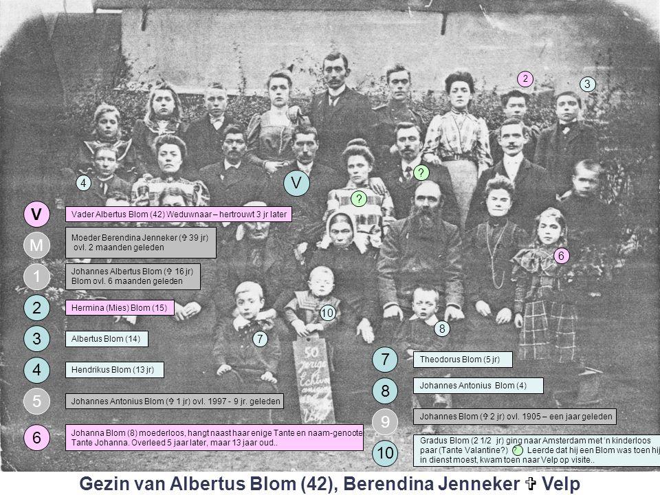 4 3 1 V M 2 Vader Albertus Blom (42) Weduwnaar – hertrouwt 3 jr later Moeder Berendina Jenneker (  39 jr) ovl.