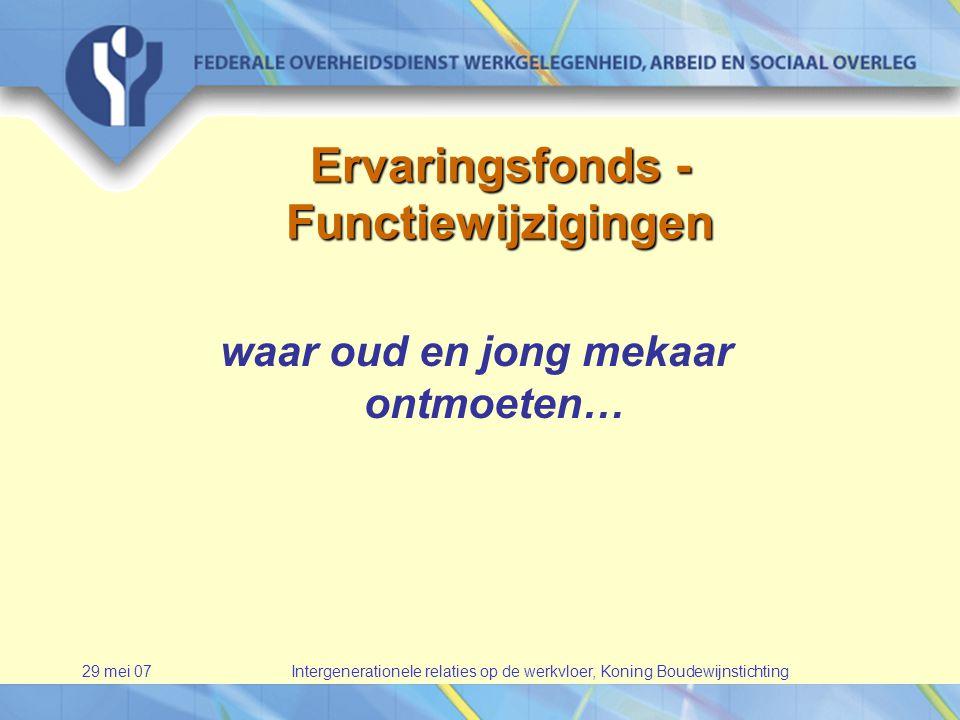 29 mei 07Intergenerationele relaties op de werkvloer, Koning Boudewijnstichting Ervaringsfonds - Functiewijzigingen waar oud en jong mekaar ontmoeten…