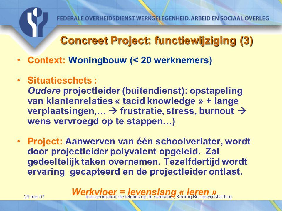 29 mei 07Intergenerationele relaties op de werkvloer, Koning Boudewijnstichting Concreet Project: functiewijziging (3) •Context: Woningbouw (< 20 werknemers) •Situatieschets : Oudere projectleider (buitendienst): opstapeling van klantenrelaties « tacid knowledge » + lange verplaatsingen,…  frustratie, stress, burnout  wens vervroegd op te stappen…) •Project: Aanwerven van één schoolverlater, wordt door projectleider polyvalent opgeleid.