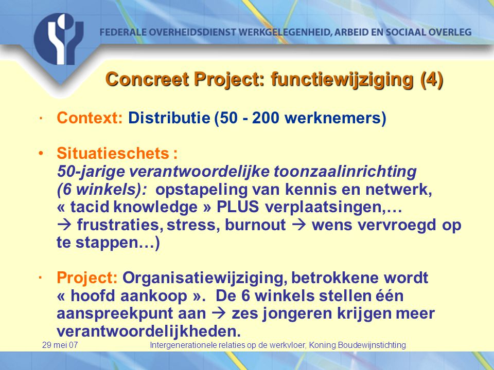 29 mei 07Intergenerationele relaties op de werkvloer, Koning Boudewijnstichting Concreet Project: functiewijziging (4) · Context: Distributie (50 - 200 werknemers) •Situatieschets : 50-jarige verantwoordelijke toonzaalinrichting (6 winkels): opstapeling van kennis en netwerk, « tacid knowledge » PLUS verplaatsingen,…  frustraties, stress, burnout  wens vervroegd op te stappen…) · Project: Organisatiewijziging, betrokkene wordt « hoofd aankoop ».